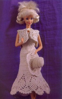 """Toda una Señorita"" Vestido a Ganchillo para Barbie. Dress graphics, bolero and crochet hat for Barbie. More Patterns Like This!"