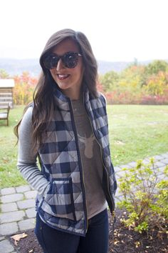 The Homestead Recap: Fall Shooting Attire - fall - shooting attire- gingham - j,crew- preppy- blogger - puffer vest - booties - cashmere - karen walker sunglasses - james jeans