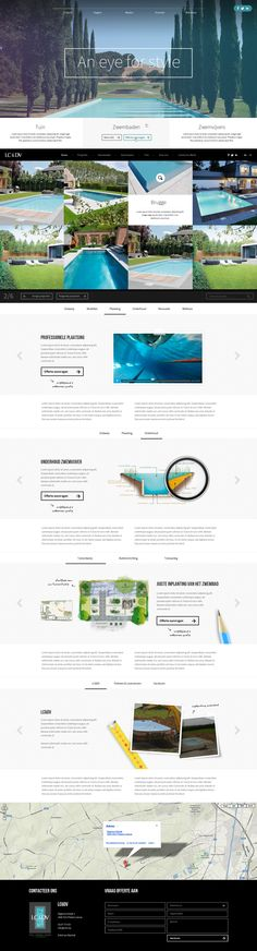 Webdesign for swimming pool constructor - Designed by Kristof 'Parain' Decloedt for Webdesign Weblounge - www.decloedtkristof.be #pools #naturalpool #layout #design #onepager