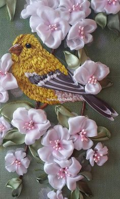 Wonderful Ribbon Embroidery Flowers by Hand Ideas. Enchanting Ribbon Embroidery Flowers by Hand Ideas. Ribbon Embroidery Tutorial, Embroidery Flowers Pattern, Silk Ribbon Embroidery, Hand Embroidery Designs, Embroidery Kits, Embroidery Supplies, Machine Embroidery, Embroidery Needles, Ribbon Art