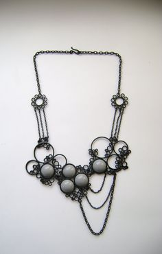 black and grey powdercoated statement necklace, one of a kind piece $500