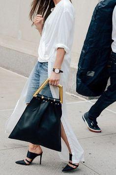 MINIMAL + CLASSIC: Celine bag, white Rodebjer shirt-dress, heels & denim