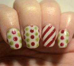 Challenge Your Nail Art 12 Days of Christmas Day 5 - Inspired by wrapping paper