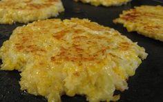 cauliflower!  1 head cauliflower  2 large eggs  1/2 c cheddar cheese, grated  1/2 c panko  1/2 t cayenne pepper  salt  olive oil