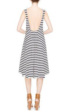 Striped V-Back Dress by Harvey Faircloth Now Available on Moda Operandi