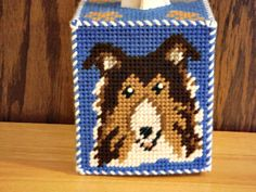 Plastic Canvas Tissue Box Cover Love Shepherd by ShanaysCreation