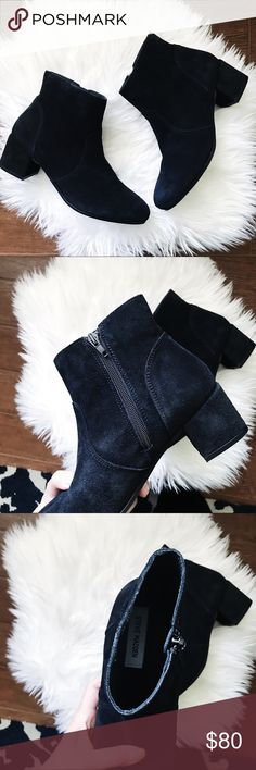 Steve Madden Black Suede Hydie Ankle Booties • brand: steve madden  • condition: new in box, will ship without original unless otherwise requested  • size: 8  • description: black suede booties with side closure   • bundle to save 💵! no trades/holds/try-ons. will try to answer all questions asap. no price negotiations in comments, they will be ignored. i ship within 24-48 hours.   ✨happy shopping!✨ Steve Madden Shoes Ankle Boots & Booties