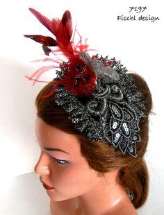 Headpieces & Fascinators - 7197 Hochzeit Bibi Schwarz Silber Rot Sinamay - ein Designerstück von FischlDesign bei DaWanda