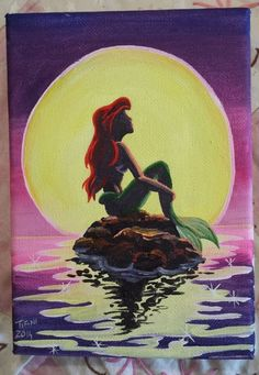 Little Mermaid Painting Disney Canvas Paintings, Easy Canvas Painting, Easy Paintings, Diy Painting, Painting & Drawing, Canvas Art, Mermaid Paintings, Disney Sketches, Disney Drawings