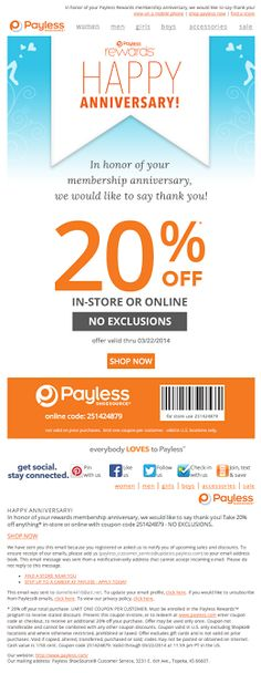 Payless Rewards Anniversary email (loyalty anniversary email). 3/2014