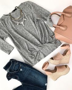 Marc Fisher Adalyne Platform Wedge, Givenchy small Antigona tote, Gibson Twist front cozy fleece pullover, winter outfit, spring outfit, casual outfit, blush sandals, petite fashion blog - click the photo for outfit details!