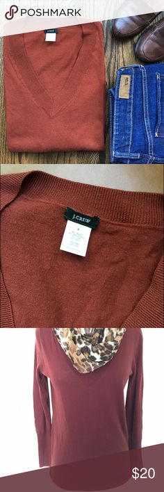 J. Crew Luxurious blend v-neck sweater Meet Morgan. Her classic fall coloring and softness will make her a favorite in your closet. A blend of acrylic, merino wool, silk  and nylon, she's the finest of all worlds - warm, light enough to layer, soft. She's a gorgeous shade of deep fall orange and she's ready to be on her way to you! Levis jeans sold in separate listing in our closet. J. Crew Sweaters V-Necks