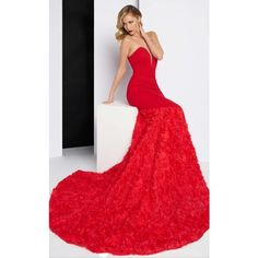 Mac Duggal 65219 Prom Long Dress Long Strapless Sleeveless (£560) ❤ liked on Polyvore featuring dresses, formal dresses, red, red formal dresses, formal evening dresses, red evening dresses, long dresses and long cocktail dresses