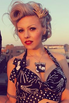 Psychobilly Pin up girl with Skeleton Bra and hair clips