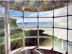 """huariqueje: """" Belle Tout Lighthouse - Eric Ravilious 1939 British Watercolour © The Estate of Eric Ravilious. Artists Rights Society (ARS), New York - DACS, London """" Belle Tout Lighthouse, Dulwich Picture Gallery, A4 Poster, Ideas Hogar, Museum, Landscape Paintings, Landscapes, Landscape Art, Painting & Drawing"""