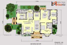Thiết kế nhà vườn 280m2 4 phòng ngủ mặt tiền 16m ở Hậu Giang BT1804 My House Plans, Modern House Plans, House Floor Plans, 3 Storey House Design, Bungalow House Design, Latest House Designs, Decoration, How To Plan, Architecture