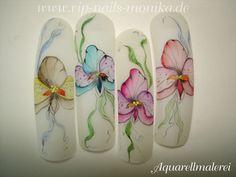 Aquarell-Flowers by vipnailsmonika - Nail Art Gallery nailartgallery.nailsmag.com by Nails Magazine www.nailsmag.com #nailart