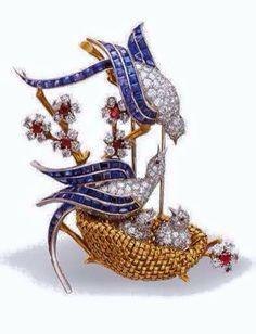 "Lovebirds brooch by Van Cleef & Arpels ""Les Inseparables"" Bird Jewelry, Animal Jewelry, Gems Jewelry, Jewelry Art, Antique Jewelry, Jewelery, Vintage Jewelry, Jewelry Accessories, Fashion Jewelry"