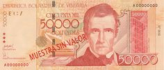 Pieza bbcv50000bs-ab01s2 (Anverso). Billete del Banco Central de Venezuela. 50000 Bolívares. Diseño A, Tipo B. Fecha Septiembre 29 2005. Serie A8. Billete tipo specimen #2