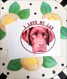 """I Love My Lab 4"""" x 5"""" Bumper Sticker"""