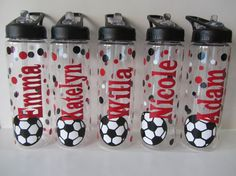 8 Personalized water bottles volleyball soccer by DottedDesigns