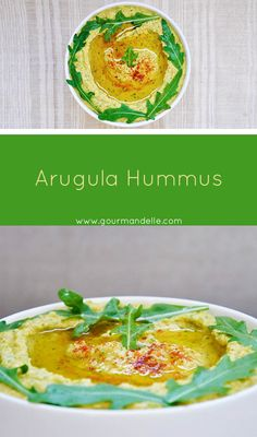 This arugula hummus recipe is perfect for those of you who want to try a different kind of hummus and experiment with new flavors and textures! | gourmandelle.com | #hummus #arugula #rocket