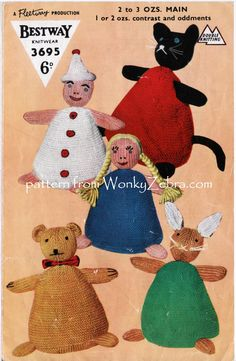 WonkyZebra pattern PDF WZ561 for a Knitted Teddy Bear Rabbit Cat Doll and Clown -all on squashy pyramid shaped bodies. Bestway3695