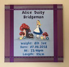 #aliceinwonderland baby birth details canvas artwork Name Canvas, Canvas Artwork, Daisy, Wedding Canvas, Baby Birth, Happy Day, Alice In Wonderland, Toy Chest, Abstract