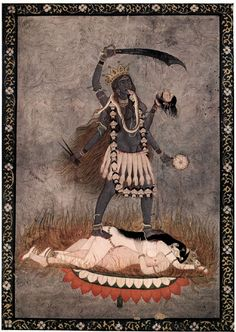 The Hindu goddess Kali working with the awakened sexual fire of a united couple. Divine Mother, Mother Goddess, Goddess Of Love, Indian Gods, Indian Art, Avatar, Hindu Art, Art History, Beast