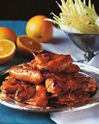 orange-glazed-chicken-wings in the oven. Orange juice, soy sauce, and garlic coat these wings with fabulous flavor Roll up your sleeves and dig into dinner! Orange juice and zest, soy sauce and plenty of garlic coat these wings with fabulous flavor. Soy Chicken, Chicken Wing Recipes, Tandoori Chicken, Chicken Wings, Chicken Appetizers, Appetizer Recipes, Appetizer Party, Appetizer Ideas, Yummy Appetizers
