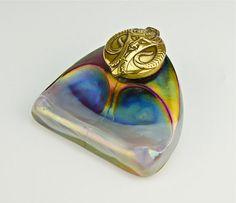 Kralik Inkwell, Bohemian Art Glass   circa 1900 | JV