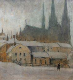 Ernst Nilsson (1892-1937): Dimhöljd uppsalavy mot domkyrkan