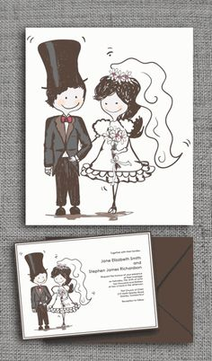 A cute caricature wedding invite will reveal your fun side. Source: Printable Invitation Kits