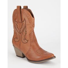 MIA Horseback Cowboy Womens Boots ($70) ❤ liked on Polyvore featuring shoes, boots, ankle boots, cognac, short boots, short cowgirl boots, western cowboy boots, faux fur boots and bootie
