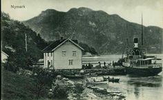 Hordaland fylke Bergen  NYMARK Pent brukt småformat stemplet 1915. Det står bl.a. Bergen på fergens akterende
