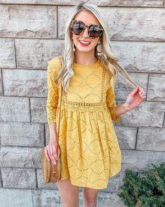 Sundress Outfit, Yellow Sundress, Yellow Dress Summer, Eyelet Dress, Outfit Summer, Spring Outfits, Summer Dresses, Yellow Gown, Stylish Dresses For Girls