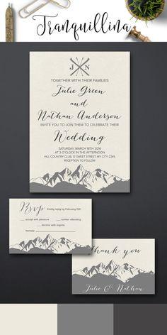 Mountain Wedding Invitation Printable, Winter Wedding Invitation, Christmas Wedding Invite, Printable Wedding Invitation Suite. For more Modern Wedding Invitation Ideas check the following link: tranquillina.etsy.com