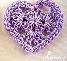 Crohet purple heart ♥LCH♥ with diagram Solo esquemas y diseños de crochet: Y MAS CORAZONES