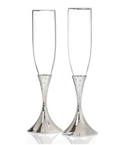 With polished silver plate bases and a dazzling design, these Nambe flutes offer a beautiful way to enjoy bubbly. Makes a wonderful engagement, wedding or anniversary gift. Toasting Flutes, Champagne Flutes, Best Champagne, Flute Glasses, Wine Glass Crafts, Elle Decor, Baby Clothes Shops, Mens Gift Sets, Baby Shop