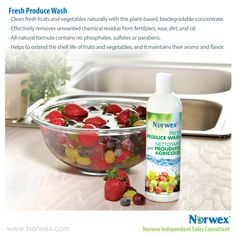 Norwex Fresh Produce Wash: •	Clean fresh fruits and vegetables naturally with this plant-based, biodegradable concentrate.  •	Effectively removes unwanted chemical residue from fertilizers, wax, dirt, and oil.
