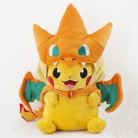Wish | New Pokemon Pikachu With Charizard hat Plush Soft Toy Stuffed Animal Doll 9in Open Mouth (Size: Open the mouth)