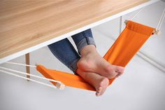 Propping your feet up during strenuous work hours will not require an extra chair anymore as long as you have the FUUT Desk Feet #Hammock under the #worktable.