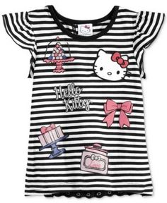 Hello Kitty Layered-Look Graphic T-Shirt, Toddler & Little Girls (2T-6X) - Black 2T
