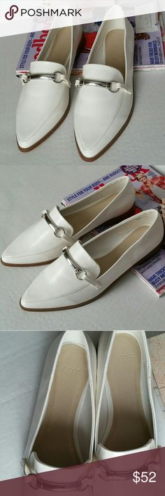 Asos Leather Loafers Brand New in White & Silver Brand new without box, we're only tried on. Size 5 which coverts to a US 7 but can also fit a 7 1/2 (7.5) Last pic shows small dot close on pointy end of left shoe  Leather upper Slip-on loafer style Silver-tone detailing Pointed toe Treat With A Suitable Leather Protector 100% Real Leather Upper  LOOK AFTER ME Treat With A Suitable Leather Protector (Not Included) And Avoid Contact With Liquids ABOUT ME Lining Sock: 100% Other Materials…