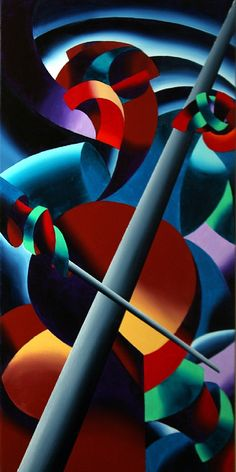 Futurist Cellist Painting by Mark Webster