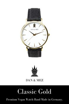 The Classic Gold is a vegan watch for men and women by DAN & MÉZ. The watch is hand made in Germany, runs with a swiss movement and features a vegan leather strap made from recycled pineapple leaves. Pineapple Leather, Classic Gold, Everyday Outfits, Timeless Design, Vegan Leather, Watches For Men, Dan, Germany, Leaves