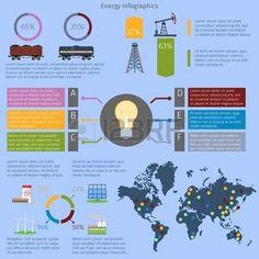 Business infographic : Infograf a Energ a y medio ambiente establecidos con gr ficos y mapa del mundo i