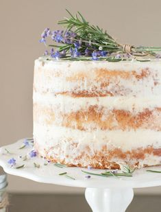 Image result for single layer naked cake with flowers