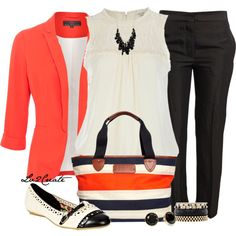 Black and white outfit with a splash of color, day to evening look...classic black slacks, white top, add any color of blazer.