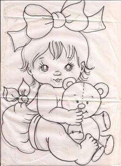 Baby Coloring Pages - Bing images Baby Embroidery, Vintage Embroidery, Embroidery Patterns, Quilt Patterns, Quilt Baby, Baby Coloring Pages, Coloring Books, Tole Painting, Fabric Painting